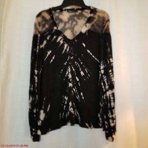 Gypsy 05 Black Tie Die Long Sleeve V Neck Shirt L